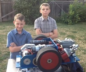 The Schmidt boys with their robot
