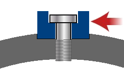 Cross section of bolt holding impactor into groove in drum weapon